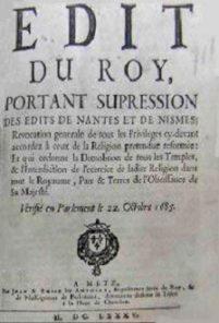 Révocation de l'Édit de Nantes (1685) : l'édit de Fontainebleau