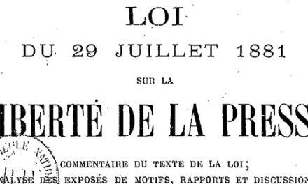 loi sur la liberté de la presse 1881