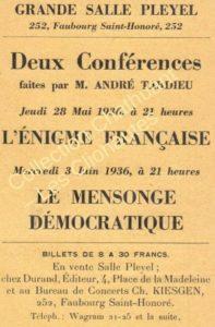 Tract recto-verso pour deux conférences de Tardieu en mai-juin 1936 (coll. DC)