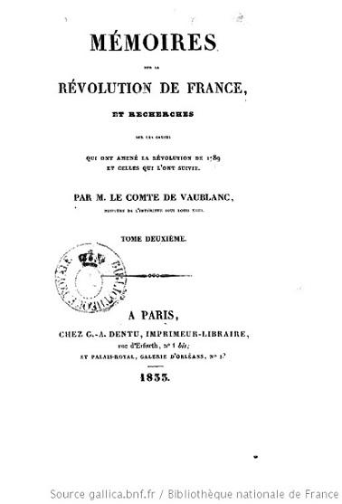 Comte Vincent-Marie de Vaublanc : un royaliste ultra juge la révolution française