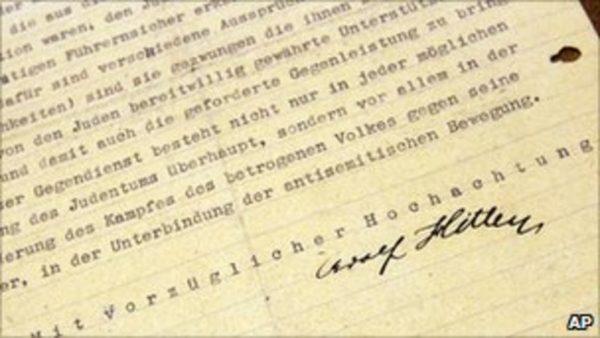 Lettre à Gemlich Exemplaire acheté par le Centre Simon Wiesenthal de Los Angeles