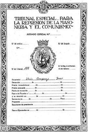Répression de la franc-maçonnerie et du communisme sous Franco -1940
