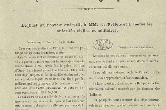 Fin de La Commune de Paris : un bulletin de victoire d' A. Thiers