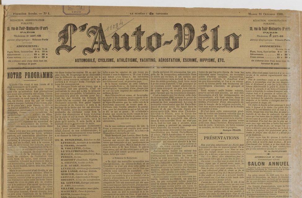 Le journal L'Auto-vélo a un programme ambitieux pour le sport – 16 octobre 1900