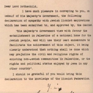 La Déclaration Balfour conservée aux <em>National Archives</em> (ex-PRO) de Londres dans les papiers du <em>Foreign office</em> Public