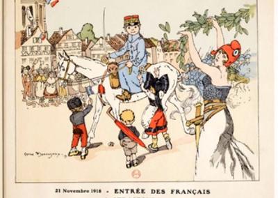 21 novembre 1918 - Entrée des Français à Strasbourg; Album de la victoire _ dessins de G. Maréchaux