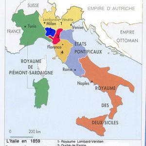 La division de l'Italie en 1859