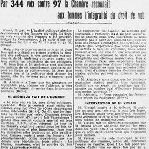 Le sujet du suffrage féminin fait toujours sourire la Chambre, L'Ouest-Éclair, 21 mai 1919.