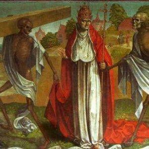 Détail de la reproduction d'une danse macabre (original non conservé), église Sainte-Marie de Lübeck (Allemagne), vers 1463, réalisée après le passage de la « mort noire ».