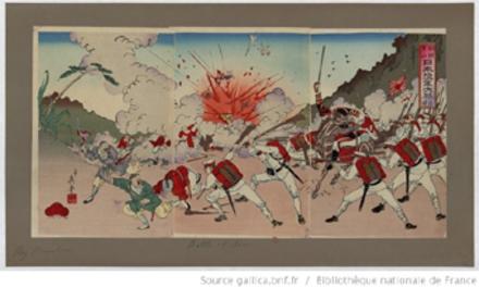 [Victoire de l'armée japonaise à Asan en Corée] : [estampe] / [dessiné par Kobayashi Ikuhide]