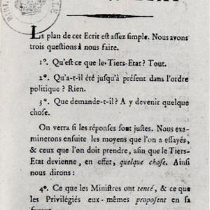 Sieyès, Qu'est-ce que le Tiers-État ?, 1789