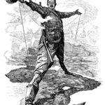 Illustration du projet de Chemin de fer Le Cap-Le Caire de Cecil Rhodes.
