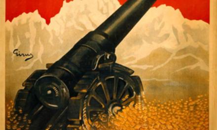 Donnez votre argent pour la victoire : la victoire signifie la paix Description Cette affiche de la Première Guerre mondiale exhorte les Italiens à mettre à contribution leur argent pour la cause de la victoire, ce qui amènera la paix. L'affiche représente un canon, reposant sur un tas de pièces de monnaie, pointé vers le sommet des montagnes. Elle fut réalisée par Giuseppe Russo (1888-1960), caricaturiste et illustrateur qui collabora longtemps avec divers périodiques italiens spécialisés dans l'humour et la satire politique.