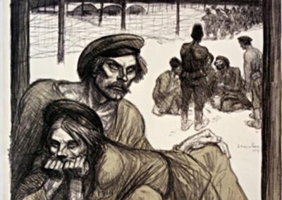 Sur la terre ennemie les prisonniers russes meurent de faim : [affiche] / Steinlen 1917