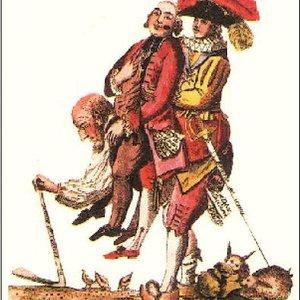 « â faut esperer q'eu s'jeu la finira ben tôt. Un païsant portant un Prélat, et un Noble », Paris, 1789