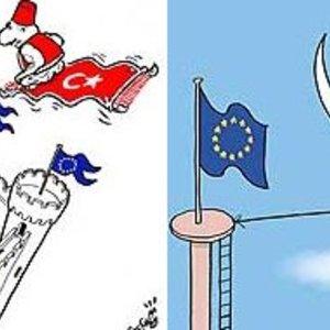 Deux dessins parus dans le Turkish Daily News, 3 octobre 2005. Le dessinateur turc joue avec les stéréotypes occidentaux sur la Turquie.